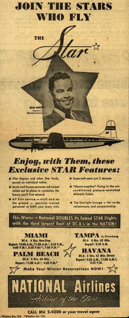 National Airline's Star luxury – JOIN THE STARS WHO FLY THE Star (1950)
