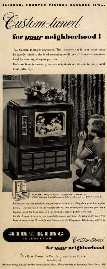 Air King Products Company's Television – Clearer, Sharper Picture Because its... Custom-tuned for your neighborhood (1951)