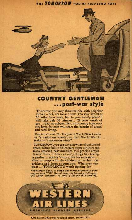 Western Air Line's future travel – The Tomorrow You're Fighting For! Country Gentleman... post-war style (1943)