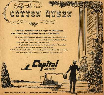 Capital Airline's various destinations – Fly the Cotton Queen (1947)