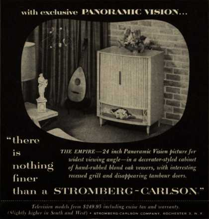 """Stromberg-Carlson Company's The Empire – with exclusive Panoramic Vision """"there is nothing finer than a Stromberg-Carlson."""" (1953)"""