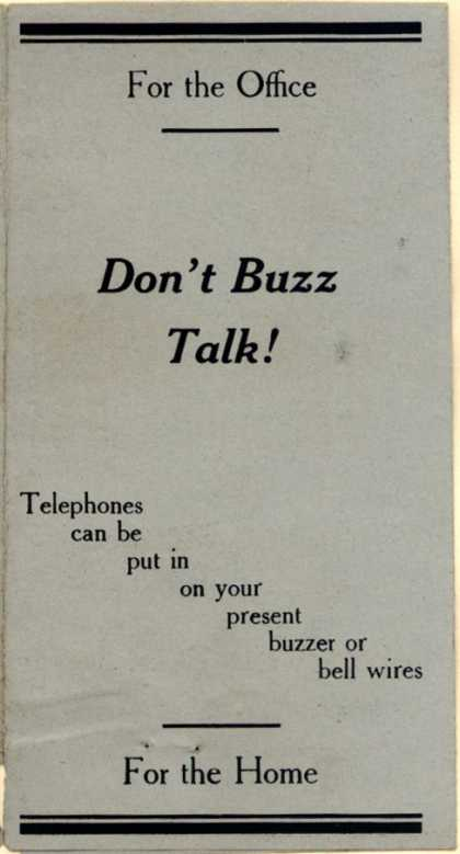 Western Electric Inter-Phone's inter-phones – Don't Buzz Talk