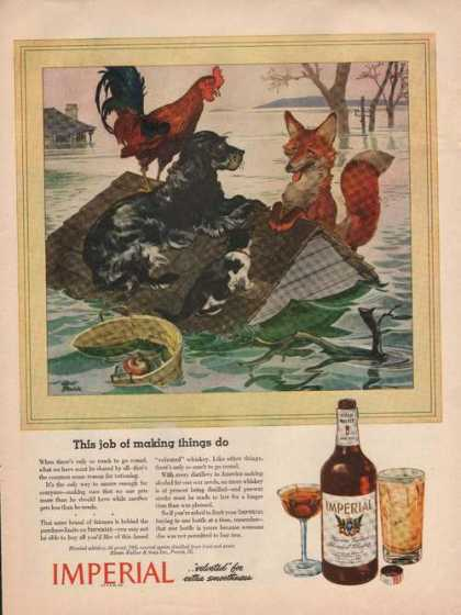 Imperial Whiskey for Dog Rooster Cat Print (1944)
