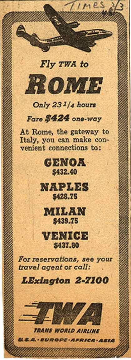 Trans World Airline's Rome – Fly TWA to Rome (1948)