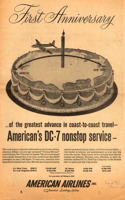 American Airlines – First Anniversary ...of the Greatest Advance in Coast-to-Coast Travel – American's DC-7 Nonstop Service (1954)