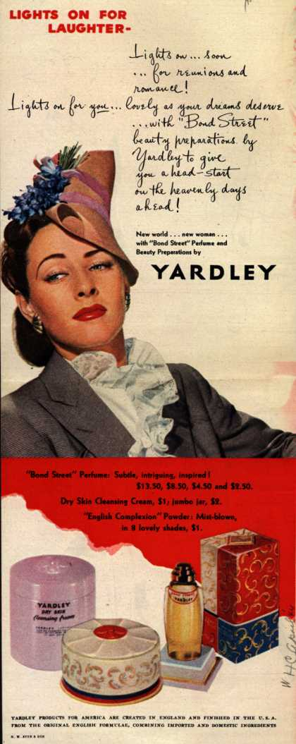 Yardley of London's Bond Street Perfume and Beauty Preparations – Lights On For Laughter- (1944)