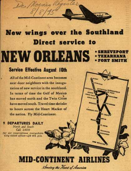Mid-Continent Airline's New Orleans – New wings over the Southland, Direct service to New Orleans (1945)