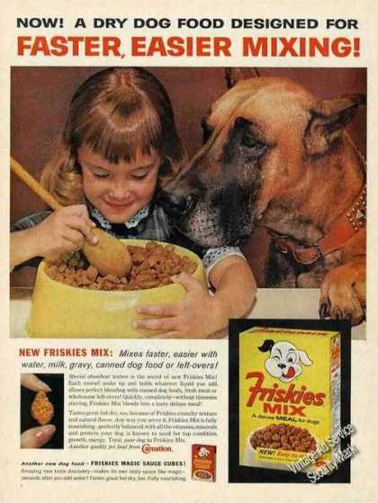 Great Dane & Young Girl With His Food Friskies (1962)