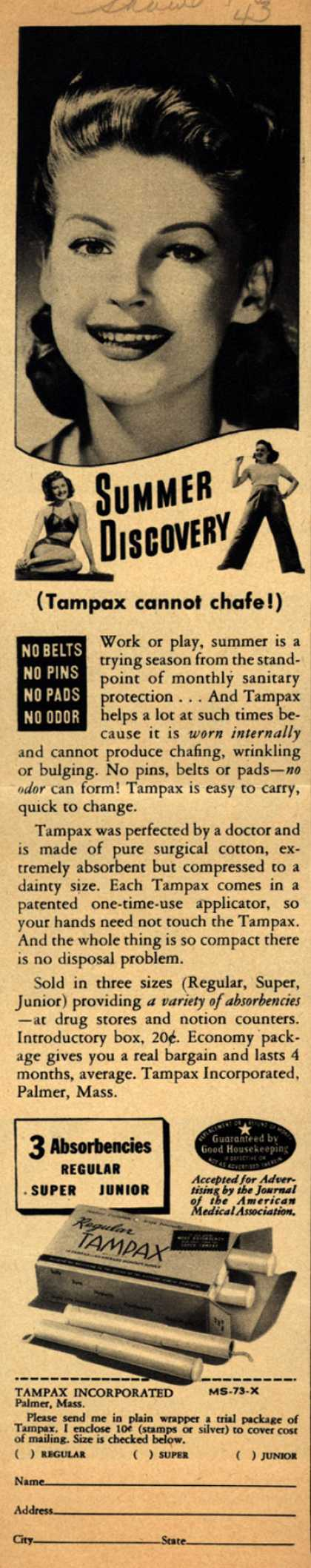 Tampax's Tampons – Summer Discovery (Tampax cannot chafe!) (1943)
