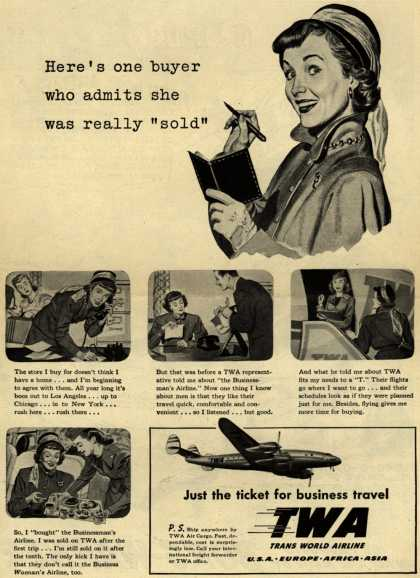 """Trans World Airline's Business travel – Here's one buyer who admits she was really """"sold"""" (1948)"""