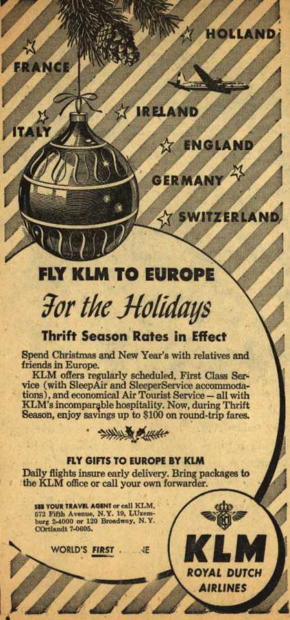 KLM Royal Dutch Airline's Europe – Fly KLM To Europe For the Holidays (1952)