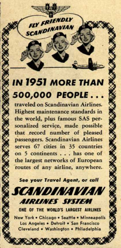 Scandinavian Airlines System – In 1951 More Than 500,000 People... (1952)