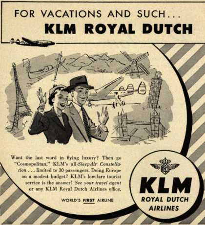 KLM Royal Dutch Airlines – For Vacations and Such... KLM Royal Dutch (1952)