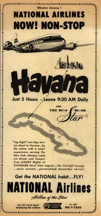 National Airline's Havana – National Airlines Now! Non-Stop (1952)