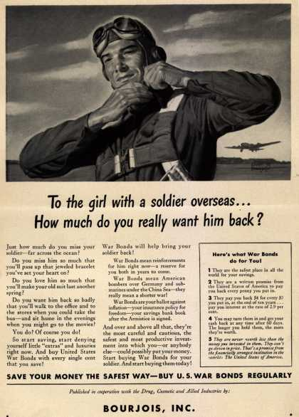 U. S. Government's War Bonds – To the girl with a soldier overseas... How much do you really want him back? (1943)