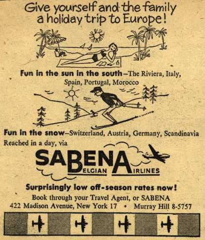 Sabena Belgian Airline's Europe – Give yourself and the family a holiday trip to Europe (1953)