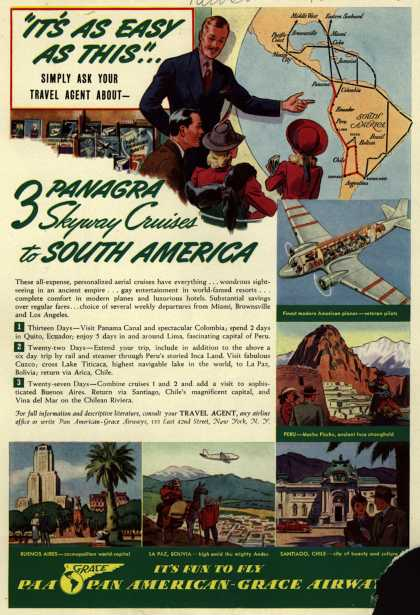 Pan American Grace Airway's Skyway Cruises to South America – It's As Easy As This... 3 Panagra Skyway Cruises to South America (1940)