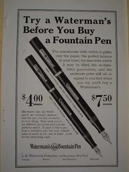 Waterman's Fountain Pen Full fisted and smaller holder (1926)