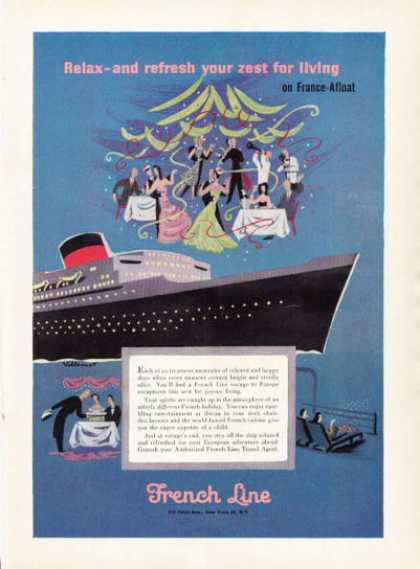 French Line Cruise Ship Art France Afloat (1955)