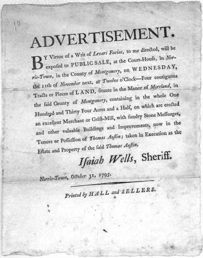 . By virtue of a writ of Levari Facias, to me directed, will be exposed to public sale, at the Court-House, in Norris-Town, in the County (1795)