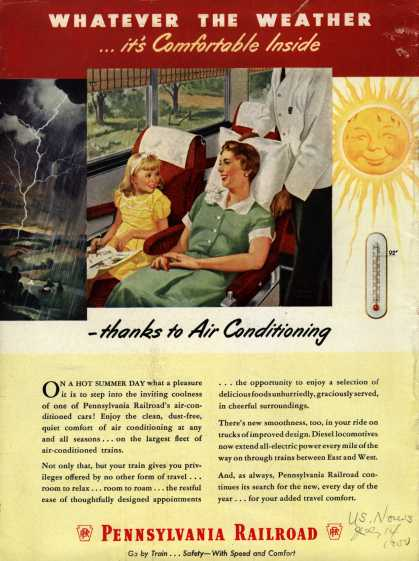 Pennsylvania Railroad – Whatever The Weather ...it's Comfortable Inside -thanks to Air Conditioning (1950)