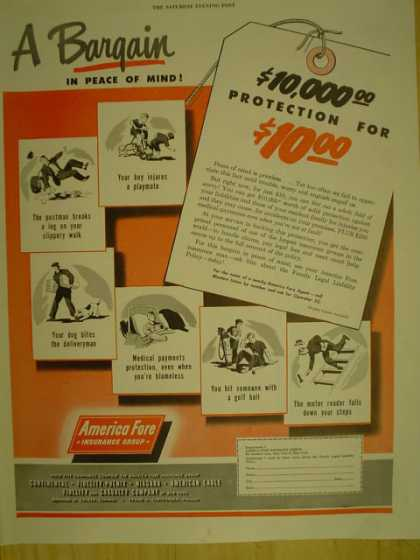 American Fore Insurance Group. A bargain for peace of mind (1949)