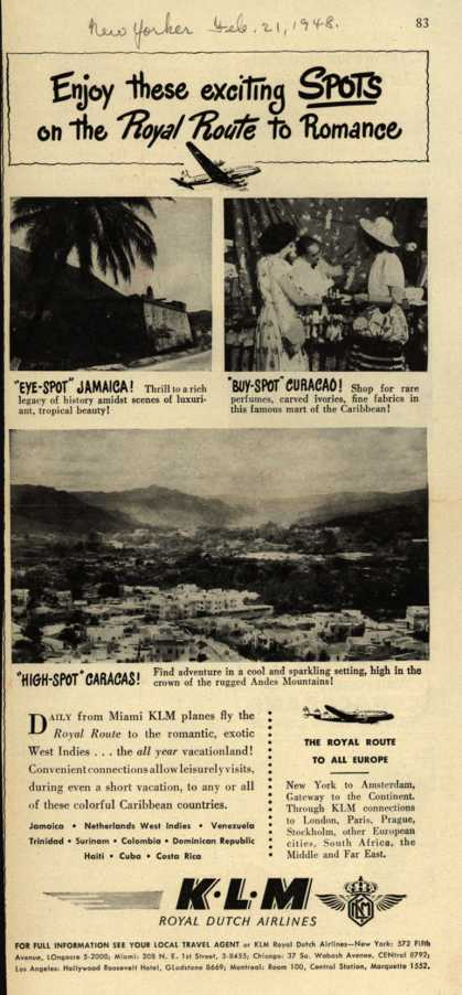 KLM Royal Dutch Airline's West Indies – Enjoy these exciting SPOTS on the Royal Route to Romance (1948)
