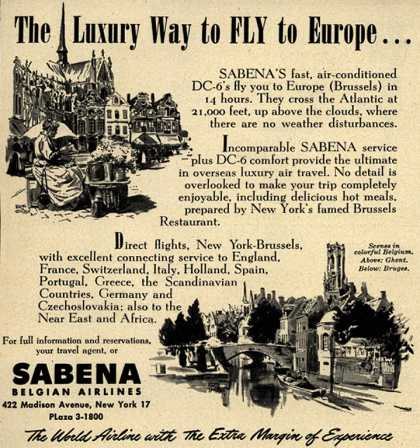 Sabena Belgian Airline's DC-6 to Europe – The Luxury Way to FLY to Europe... (1949)