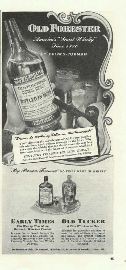 Old Forester Americas Guest Whisky (1939)