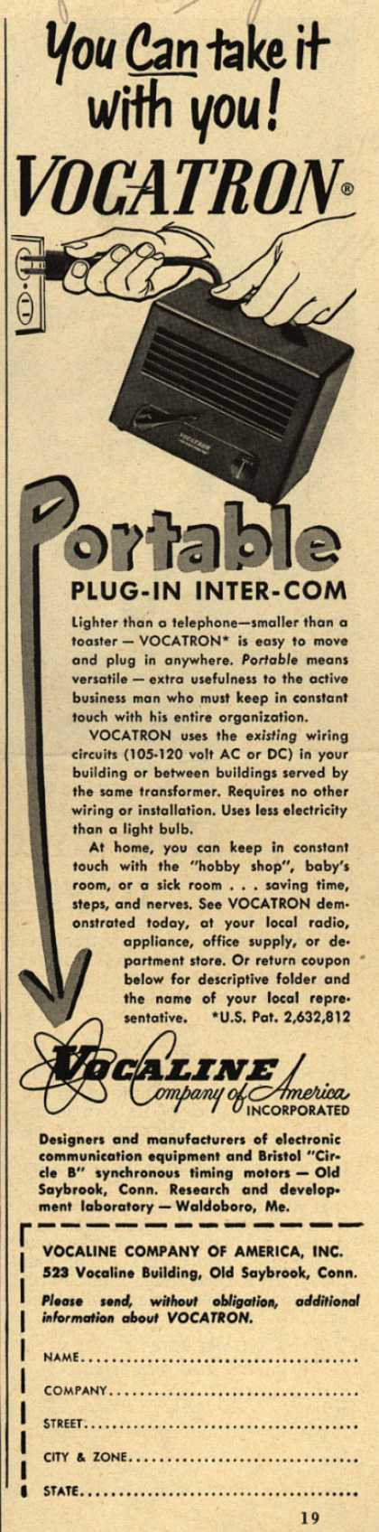 Vocaline Company of America, Incorporated's Portable Intercoms – You Can Take It With You! Vocatron Portable Plug-In Inter-Com (1953)