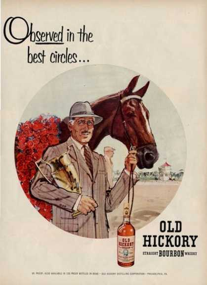 Old Hickory Bourbon Race Horse Kentucky Derby Ad T (1954)