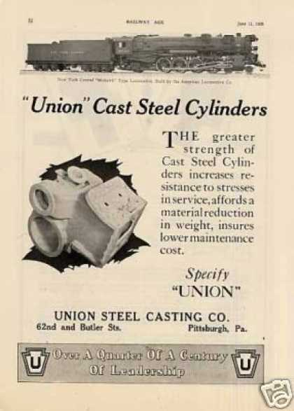 Union Steel Ad New York Central 4-8-2 #2743 (1926)