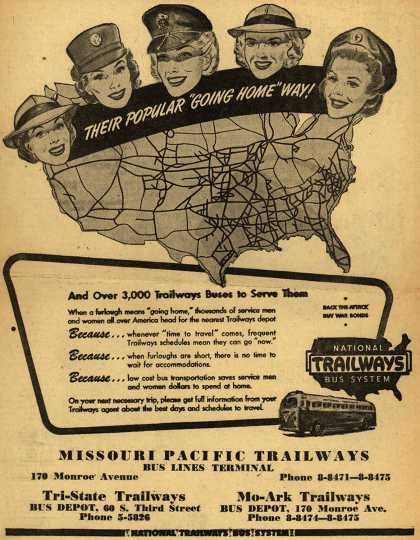 """National Trailways Bus System – Their Popular """"Going Home"""" Way (1945)"""