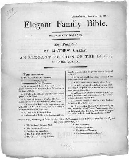 Philadelphia, November 20, 1801. Elegant family Bible. Price seven dollars. Just published by Mathew Carey. an elegant edition of the Bible. in large (1801)