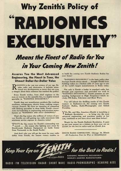 """Zenith Radio Corporation's Radionics – Why Zenith's Policy of """"Radionics Exclusively"""" Means the Finest of Radio for You in Your Coming New Zenith (1944)"""