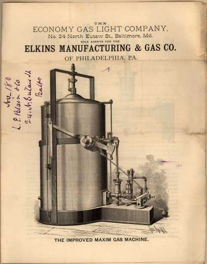 Elkins Manufacturing & Gas Co.'s Improved Maxim Gas Machine – Elkins Manufacturing & Gas Co. (1880)