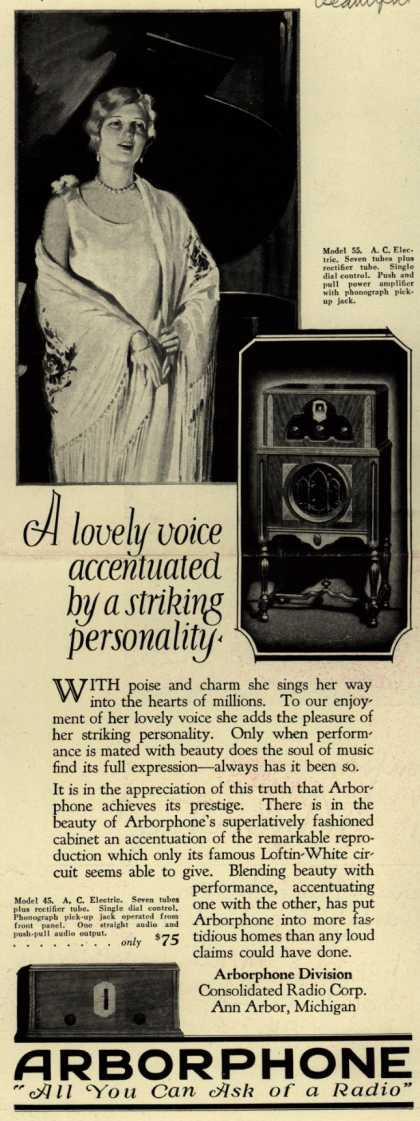 Arborphone Division, Consolidated Radio Corp.'s Radio – A lovely voice accentuated by a striking personality (1928)