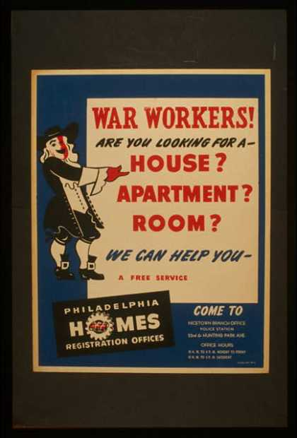 War workers! are you looking for a – house? apartment? room? we can help you. (1941)