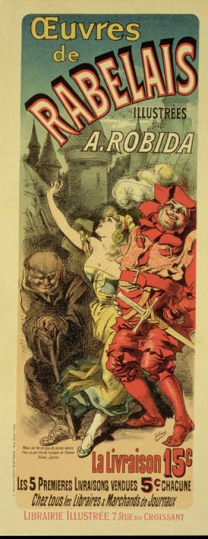 """Reproduction of a Poster Advertising """"The Works of Rabelais,"""" (1885)"""