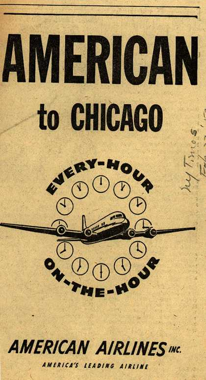 American Airline's Chicago flights on the hour – American to Chicago: Every-Hour On-The-Hour (1952)