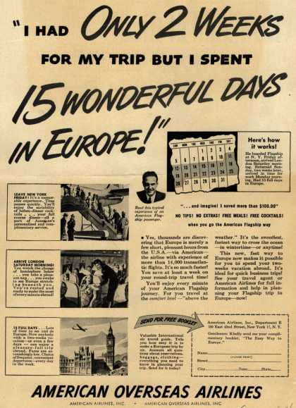 """American Airline's Europe – """"I Had Only 2 Weeks For My Trip But I Spent 15 Wonderful Days in Europe!"""" (1947)"""
