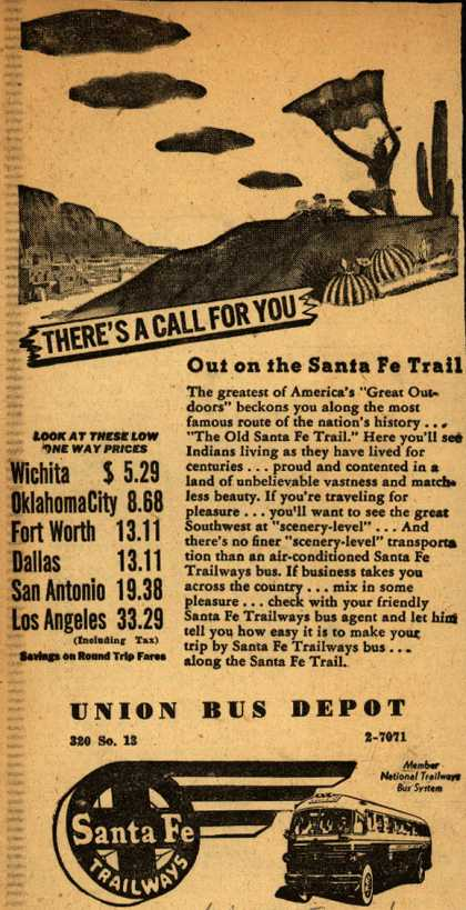 Santa Fe Trailway's Various destinations – There's A Call For You Out on the Santa Fe Trail (1946)