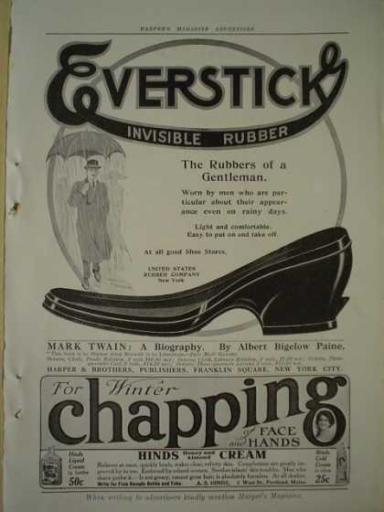Everstick invisible rubber AND Hinds Cream for chapping (1913)