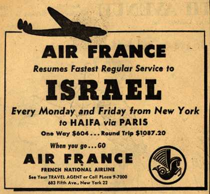 French National Airline's Israel – Air France Resumes Fastest Regular Service to Israel (1948)