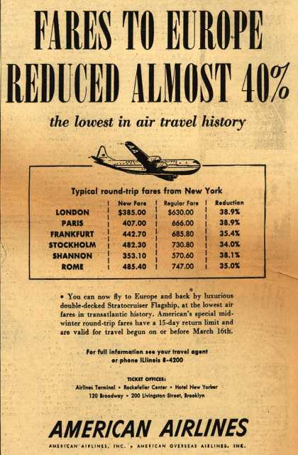 American Airline's Low fares – Fares to Europe Reduced Almost 40% (1949)