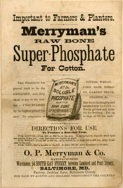 O. P. Merryman & Co.'s Merryman's Raw Bone Super-Phosphate – Important to Farmers and Planters