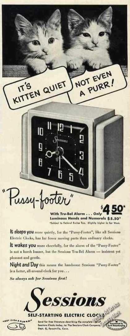 """Sessions Alarm Clock Kittens """"Pussy-footer"""" (1950)"""