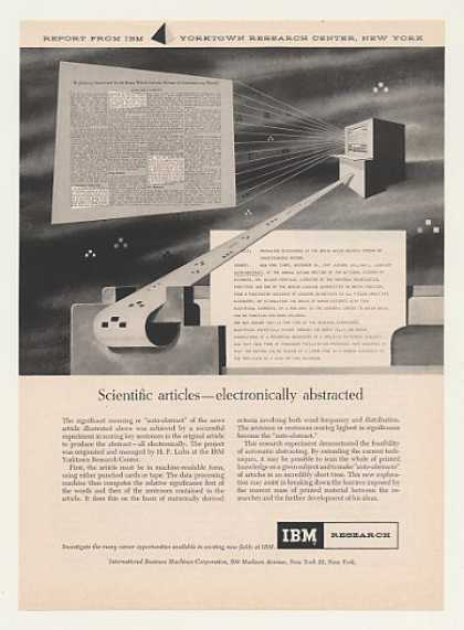 IBM Research Scientific Articles Auto-Abstract (1958)