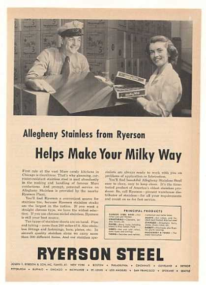 Miky Way Candy Bars Ryerson Allegheny Steel (1953)