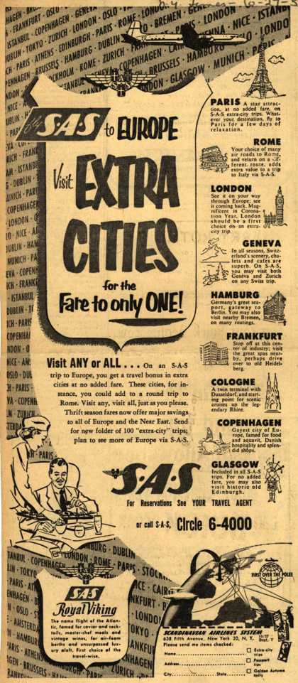 Scandinavian Airlines System's Europe – SAS to Europe, Visit Extra Cities for the Fare to only One (1953)